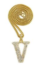 """NEW ICED OUT LIL UZI VERT V PENDANT WITH 3mm 24"""" CUBAN CHAIN"""