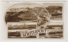 Lancashire postcard - Southport (Multiview showing 4 scenes) - RP - P/U 1956