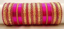 Indian Bollywood Traditional 48pcs Pink Colored  Bridal Bangles Set Jewelry 2.6.