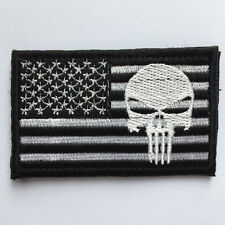 USA American Flag Punisher Skull Military Army Tactical Morale OPS Patch - White