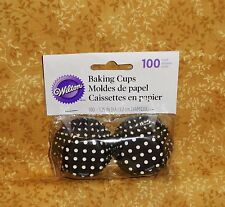 Polka Dot, Black/white Mini Bake Cups,Cupcake Papers,100 ct.Wilton.Minnie Mouse