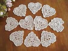 "TEN Chic Hand Crochet Heart Shape Cotton Doily Ecru 4"""