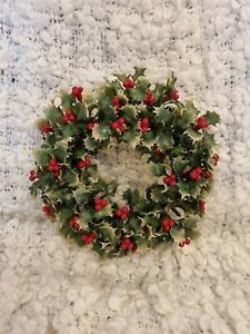 Vintage Christmas Plastic Holly Wreath 14cm diameter