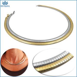 Collana girocollo da donna snake semirigido piatta in acciaio inox oro argento a