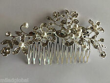 Silver Gold Bridal Bridesmaid Wedding Hair Comb Clip in Flower Pearls Rhinestone
