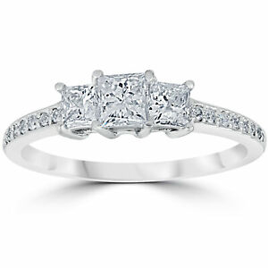 3/4 cttw Princess Cut 3 Stone Diamond Engagement Ring 14k White Gold