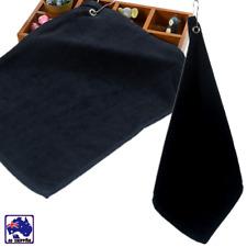 1x Golf Towel w/ Metal Clip Black Sport 40x50cm Tri-fold Washcloth HTOW96005
