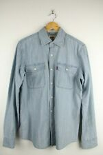 Levis Denim Long Sleeve Shirt Mens Sz S Button Up Blue Double Pocket Western