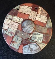 "Rare Pre-Columbian  Stone Mosaic Round ""Alien"" Pendant, Mexico,(Ojuelos)"