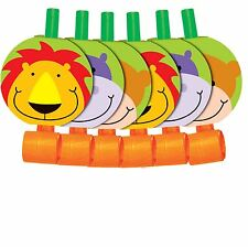 6 Jungle Party Blowers Noise Makers Animals Lions Giraffes Blow Outs