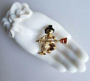 Scarecrow brooch for Halloween gold-tone black orange enamel