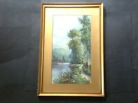 Antique Landscape Oil Painting, River, Mountain, Tree, Victorian - Edwardian