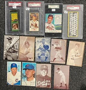 LOT of (13) Assorted Baseball Cards w/ 1950s Exhibits Mays Musial HOF & PSA SGC