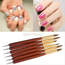 6 Pcs Set Nail Art Painting Tools Acrylic UV Gel Red Wood Nail Brush Drawing Pen