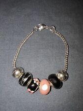 """Pretty Silver Coloured Charm Bracelet with 6 Charms, 6 1/2"""" Long."""