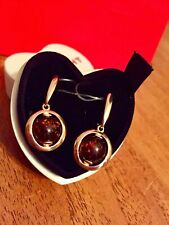 Russian Earrings amber gold Rose gold Silver 4.26g NEW fine jewelry SOKOLOV USSR