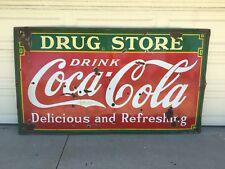 Dated 1935 Drug Store Drink Coca Cola 8ft Porcelain Sign