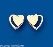 Heart earrings heart Stud earrings Two Hearts earrings Two Colour Gold earrings