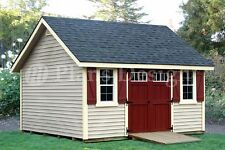 14' x 14' Gable Shed Plans, How to Build it Yourself #D1414G, Free Material List