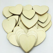 20 x Unfinished Heart Wooden Shapes Craft Embellishments Decoration Laser Cut