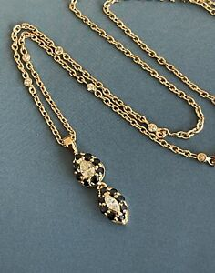 """18ct Yellow gold Diamond Sapphire necklace Solitaire  Pendant 21"""" By Yard Chain"""