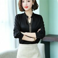 Ladies Faux Silk Satin Shirt Blouse Top Long Sleeve V-neck Pullover Casual Black