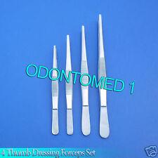 """Lot of 4 Thumb Dressing Forceps 5"""", 5.5"""",6"""",7"""" Surgical,Vet,Dental Lab Inst"""