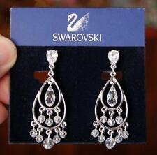 LOVELY VINT SWAROVSKI CRYSTAL SILVERTONE CHANDELIER EARRINGS LADEN WITH CRYSTALS