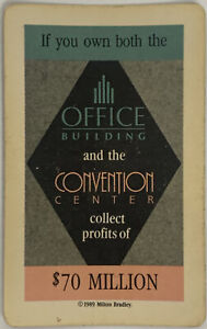 1989 TRUMP THE GAME BOARD GAME $70 MILLION OFFICE CONVENTION CENTER OWNER CARD