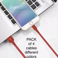 4 Pack 3 Ft Lightning Cable iPhone X8 7 6 5 USB Charger Heavy Duty Charging Cord