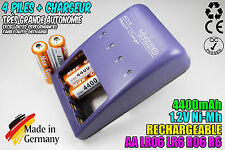 CHARGEUR VIVANCO CHARGER + 4 PILES ACCUS RECHARGEABLE NI-MH 1.2V AA 4400MAH LR06