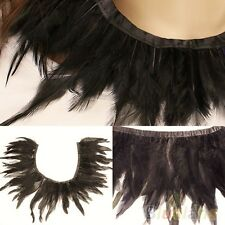 STEAMPUNK/PUNK/GOTH/BURLESQ BLACK FEATHER NECK-COLLAR  PARTY EVENING COSTUME