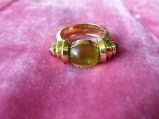 GORGEOUS POST MODERN CONTEMPORARY 14K GOLD AND PERIDOT RING #2  SIZE 4