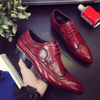 Men Business Oxfords Leather Shoes Pointed Toe Dress Formal Flat Lace Up Classic