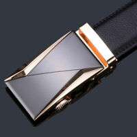 Mens Gold Silver Automatic Buckle Leather Ratchet Belt Waistband Strap Waist