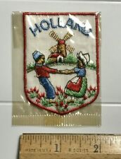 HOLLAND The Netherlands Windmill Man Woman Souvenir White Embroidered Patch