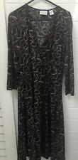 Chico's Size 6-8 (US 0) Black Brown Faux Wrap Business Stretch Dress EUC