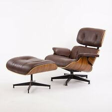 2010's Herman Miller Eames Lounge Chair & Ottoman Palisander Brown Leather