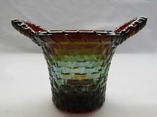 BOYD ART GLASS HANDLED BASKET TOOTHPICK HOLDER (RUBINA)  GLOWS FIRST 5 YEARS