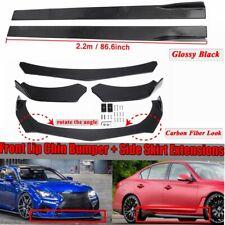 Universal Car Front Bumper Lip Spoiler Splitter +86.6'' Side Skirts Rocker Panel