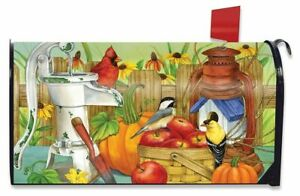 Autumn Display Birds Magnetic Mailbox Cover Apples Pumpkins Fall Standard
