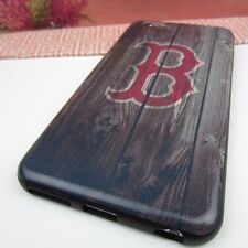 Boston Red Sox #BW Rubber+Leather Cover Case for Apple iPhone 6 Plus 5.5""
