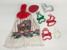 6 Holiday Cookie Cutters Wilton 5 Christmas 1 Easter + Xmas Kitchen Towel