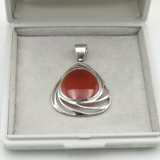 925 Sterling Silver Carnelian / Agate Reddish Brown Stone Pendant For Necklace