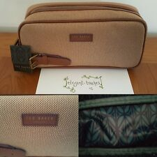 Ted Baker London Mens Canvas Light Tan Smart Toiletry Wash Bag Summer Gift