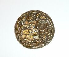 """Brass Finish Ant Repro Flowers & Lizard Metal Button - Sew Down Button 1-1/2"""""""