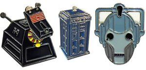 Doctor Who K9 Robot Dog Cyberman & Tardis Set of Enamel Badges Dr Sci Fi NEW