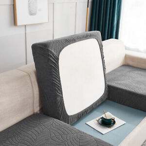 Sofa Cushion Cover 1/2/3/4 Seater Saddle Solid Pattern Slipcovers Home Replace