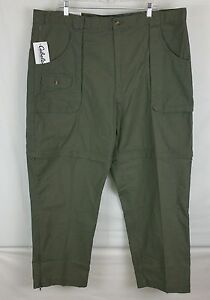 Cabelas outdoors 2 in 1 hunting, hiking, trail pants Zipper into shorts, Green