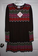 NWT Girls Hanna Andersson Brown Multi-Color Sweater Dress Size 150